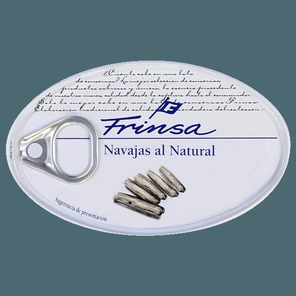 Lata de navajas en conserva gourmet de Frinsa